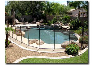 Residential Pool with Removable Mesh Pool Fences
