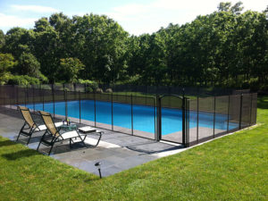 brown mesh removable pool fence